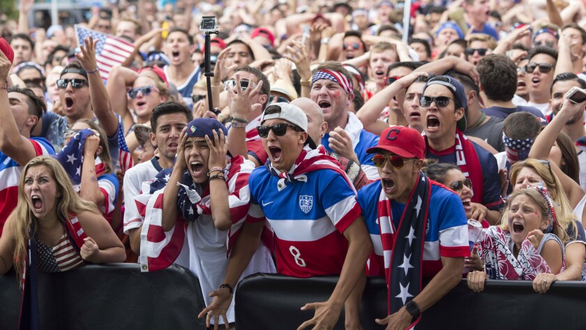 U.S. fans in Redondo Beach react during the American soccer team's loss to Belgium on Tuesday.