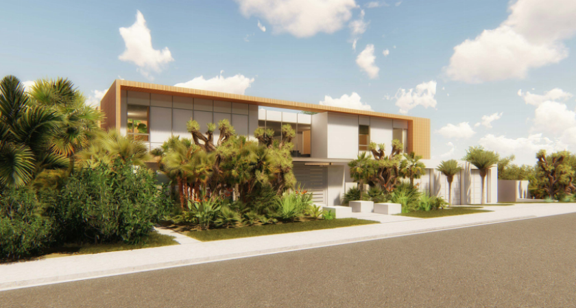 A rendering depicts a development proposed at 2521 Calle del Oro.
