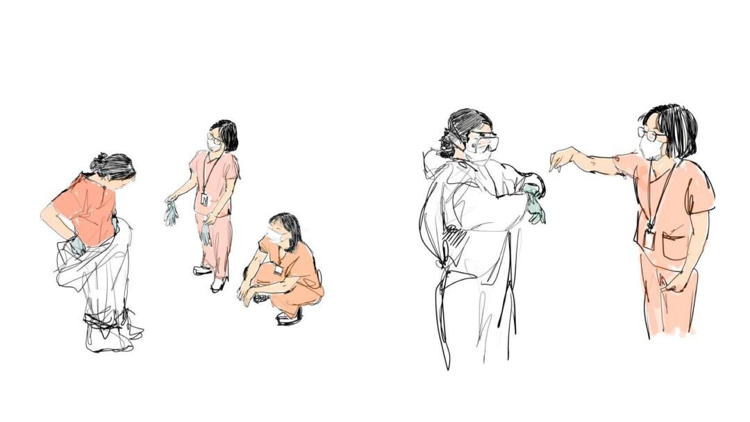Icu Nurse Sketches Heroes At A Coronavirus Isolation Ward Los