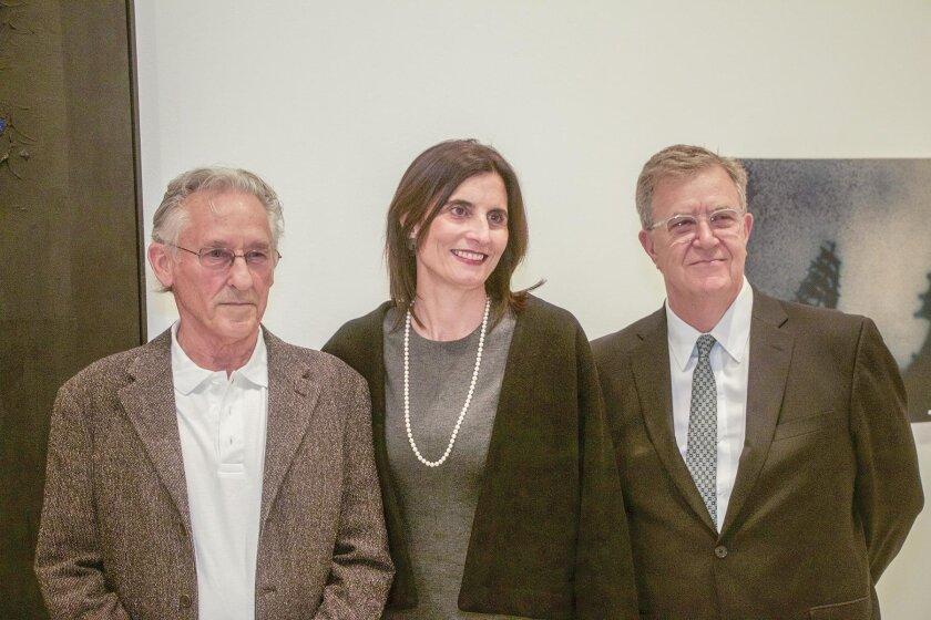 Artist Ed Ruscha with MCASD Deputy Director Kathryn Kanjo and Director/CEO Hugh Davies.