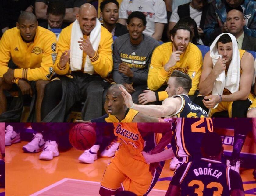 El jugador de los Angeles Lakers Kobe Bryant (i) lucha por el balón con Gordon Hayward (d) de los Utah Jazz durante un partido de la NBA. EFE/Archivo