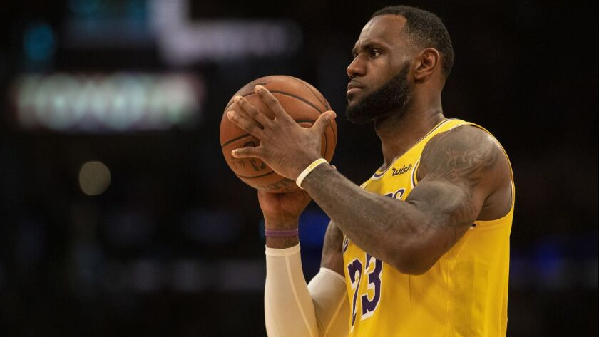 LOS ANGELES, CALIF. -- SATURDAY, MARCH 9, 2019: Lakers LeBron James at the free throw line during lo