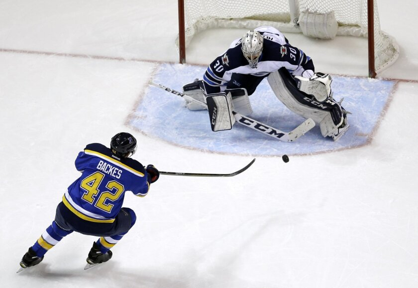 Winnipeg Jets goalie Connor Hellebuyck, right, stops a shot from St. Louis Blues' David Backes during the first period of an NHL hockey game Tuesday, Feb. 9, 2016, in St. Louis. (AP Photo/Jeff Roberson)