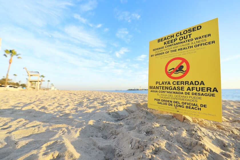 A sewage spill prompted the closures of a seven-mile stretch of coast in Long Beach on Monday.