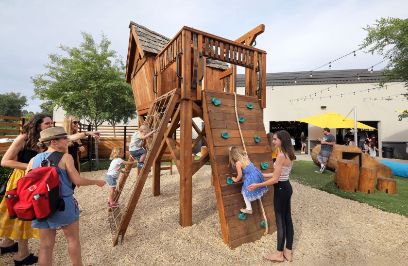 Kids play on an outdoor play area during a private preview party at My Yard Live.