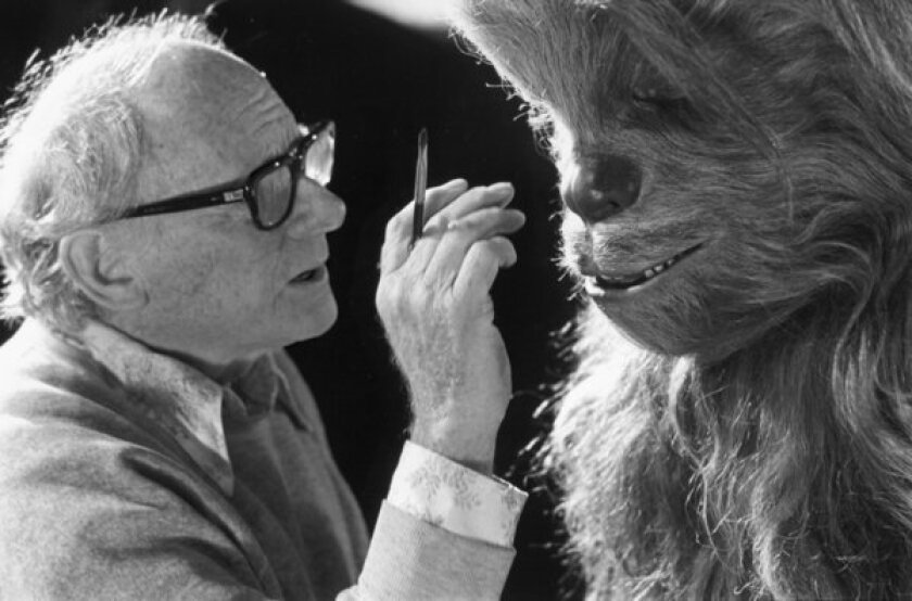 "Stuart Freeborn works on one of his creations from the ""Star Wars"" films, Chewbacca."