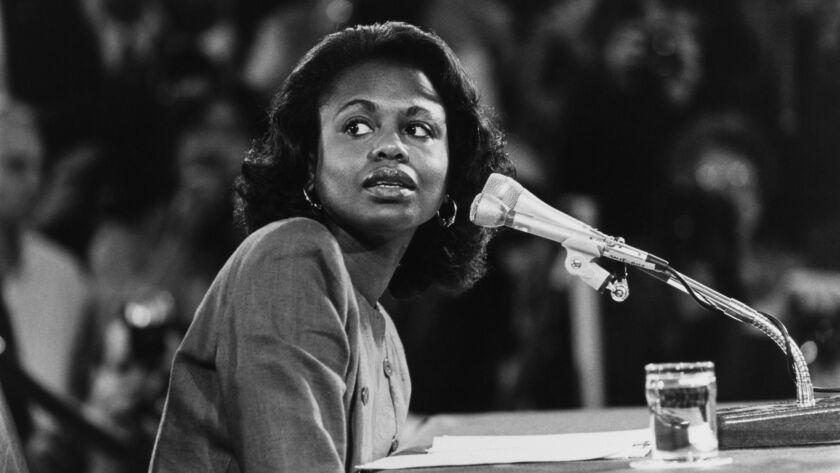 Anita Hill testifies before the Senate Judiciary Committee on Oct. 14, 1991.