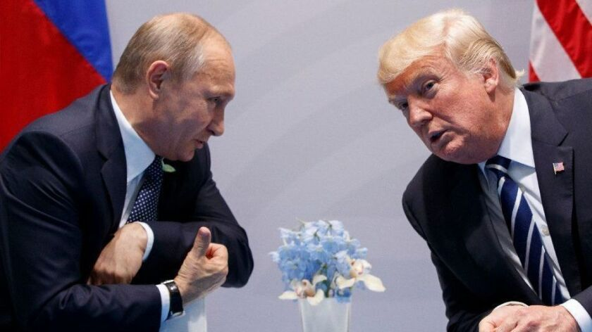 President Trump meets with Russian President Vladimir Putin at the G-20 Summit in Hamburg, Germany, in July 2017.