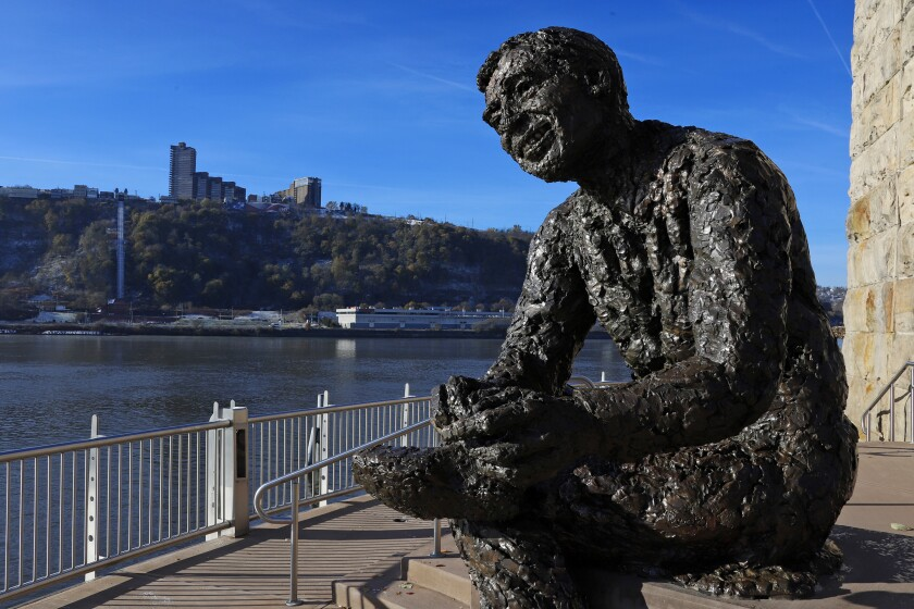 A statue of Fred Rogers on Pittsburgh's North Side.
