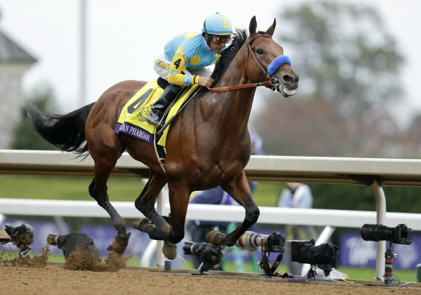 American Pharoah, with Victor Espinoza up, wins the Breeders' Cup Classic horse race at Keeneland race track Saturday, Oct. 31, 2015, in Lexington, Ky. (AP Photo/Garry Jones)