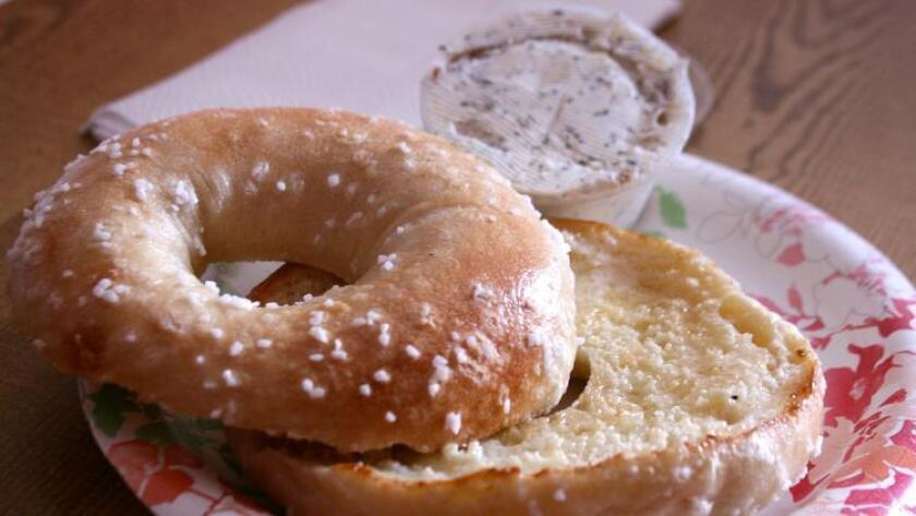 Salt bagel from PL Bagel, a cash-only gem in Point Loma. (Amy T. Granite)