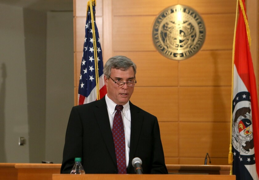 St. Louis County Prosecutor Robert McCulloch at a news conference announcing the grand jury's decision not to indict Ferguson police officer Darren Wilson in the Aug. 9 death of Michael Brown.