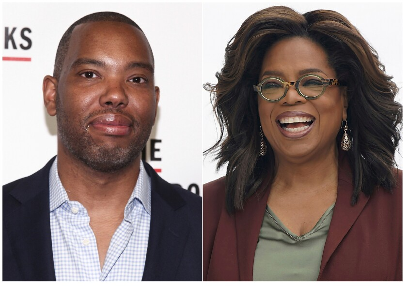 """This combination photo shows author Ta-Nehisi Coates at the The Gordon Parks Foundation Annual Awards Gala in New York on May 22, 2018, left, and Oprah Winfrey at an event to announce new Apple products in Cupertino, Calif. on March 25, 2019. Winfrey has selected Ta-Nehisi Coates' novel """"The Water Dancer"""" as her next book club pick. (AP Photo)"""