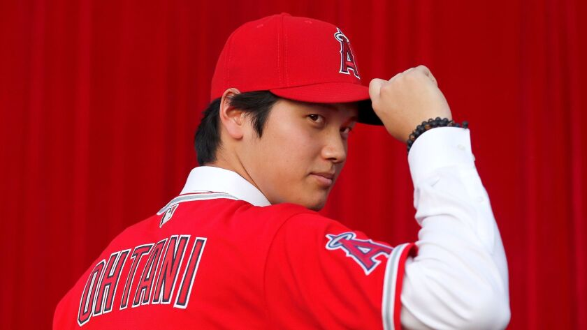 Shohei Ohtani at a news conference at Angel Stadium on Dec. 9.