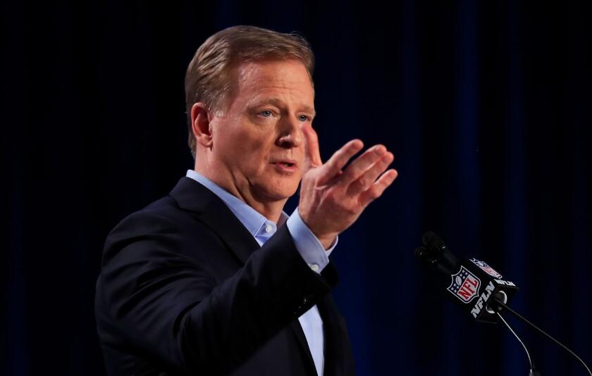 NFL Commissioner Roger Goodell speaks during a news conference.