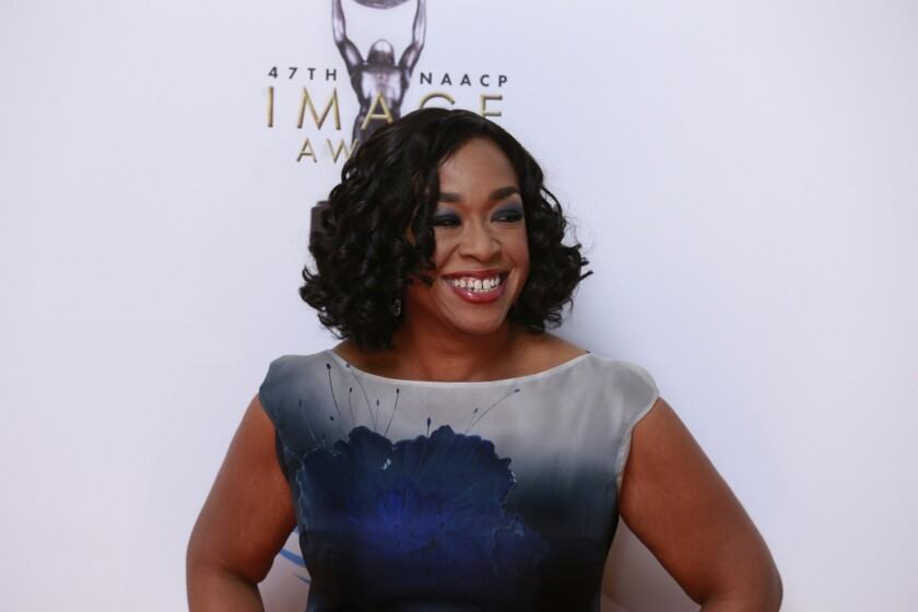 Shonda Rhimes arrives at the 47th annual NAACP Image Awards at the Pasadena Civic Center in February.