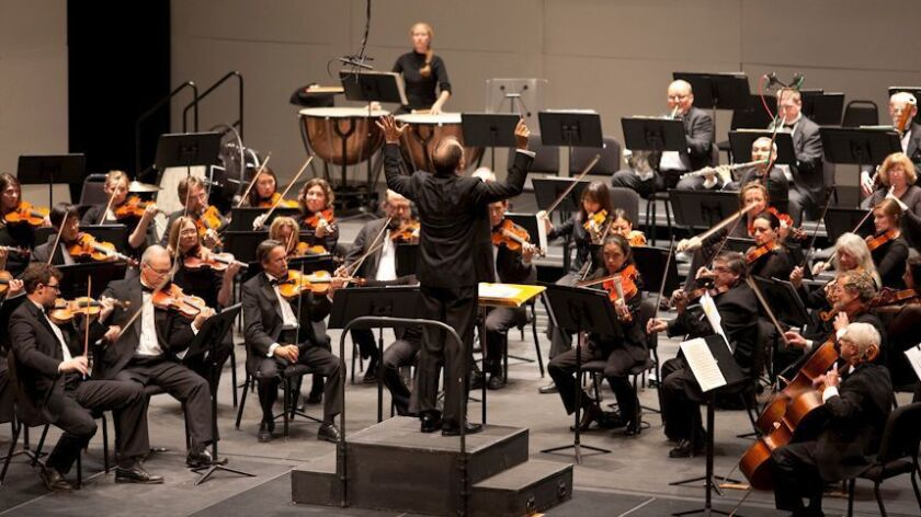 Steven Schick directs the La Jolla Symphony & Chorus in a concert at UC San Diego's Mandeville Auditorium in this file photo.