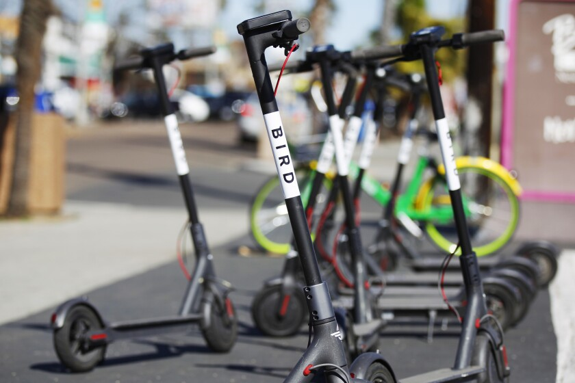 Bird electric scooters line Garnett Ave. in Pacific Beach on March 6, 2018.