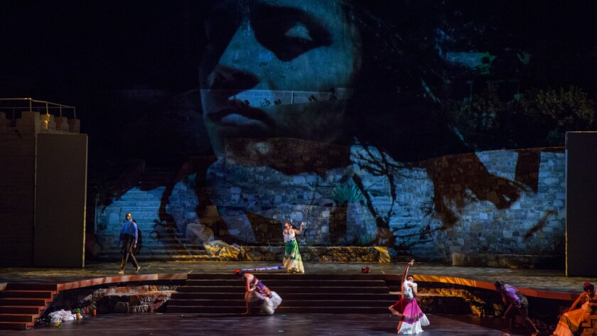 Los Angeles-based Contra-Tiempo performs its expression of Frida Kahlo's life at the Ford amphitheater in Hollywood.