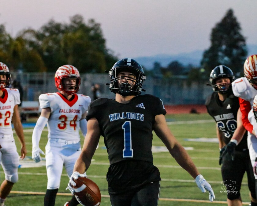 Cameron Dingman, winner of the NFL Way to Play Award, after making a touchdown at the March 26 game against Fallbrook.