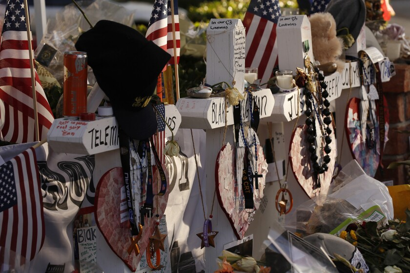 THOUSAND OAKS, CA - NOVEMBER 27, 2018. Crosses bear the names of the victims of the Borderline shoot