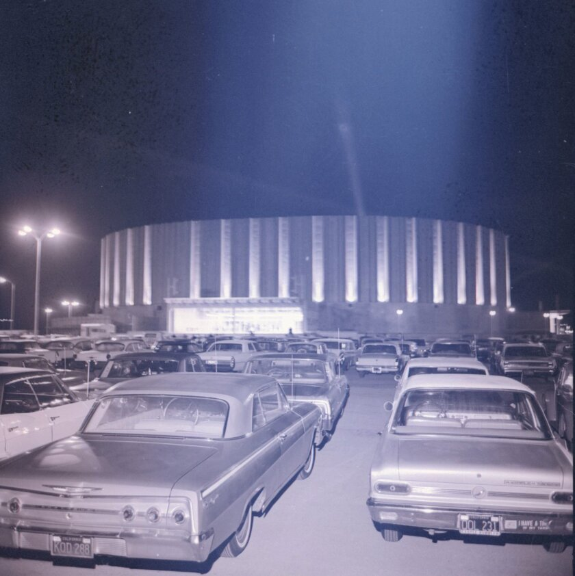 An early photograph of the San Diego Sports Arena.