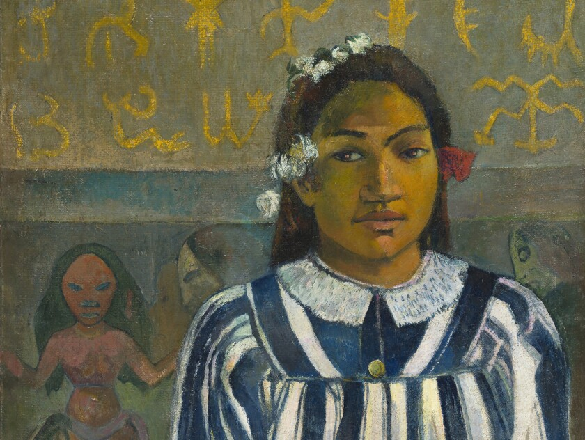 Detail from the painting 'Merahi metua no Tehamana' (1883) by Paul Gauguin, featured in the documentary 'Gauguin From the National Gallery London'