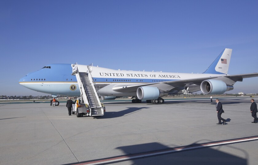 Air Force One at Los Angeles International Airport.