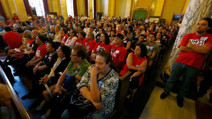LOS ANGELES, CALIF. - JUNE 23, 2016. An overflow crowd fills the L.A. City Council chamber on Thursd