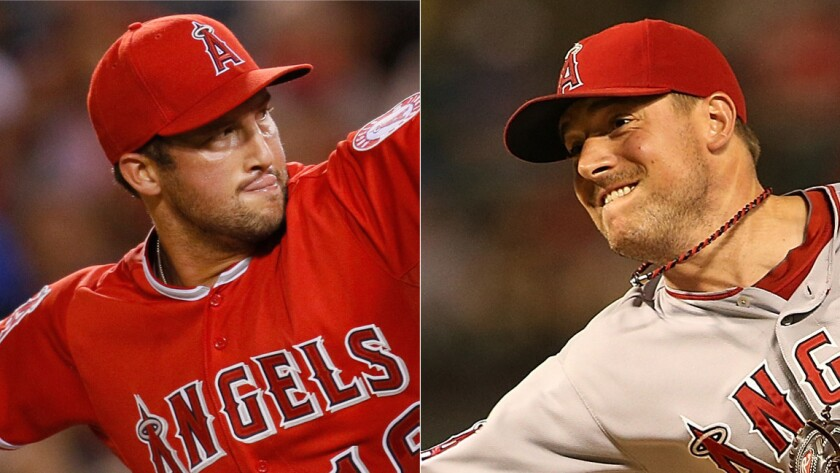 Angels pitchers Huston Street, left, and Joe Smith have played vital roles in helping the team stay in the hunt for first place in the AL West division.