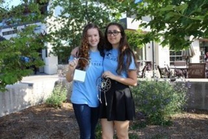 Pacific Ridge School students Kate McInerney and Lily Klinek created craft kits for teenagers at the Rady's Children's Hospital as part of a school project. Courtesy photo