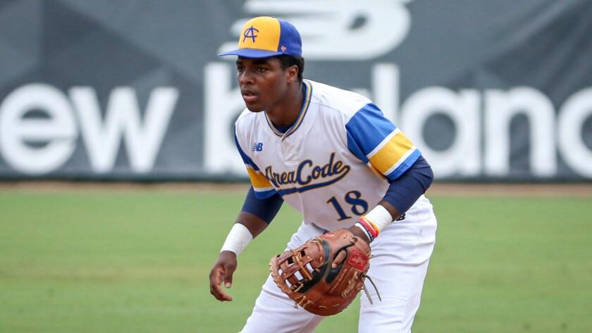 St. John Bosco first baseman Jonathan Vaughns plays defense.