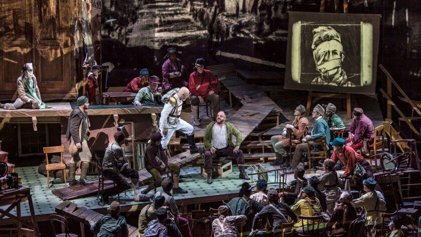 William Kentridge's Salzburg Festival production of Berg's 'Wozzeck' with Matthias Goerne (seated in