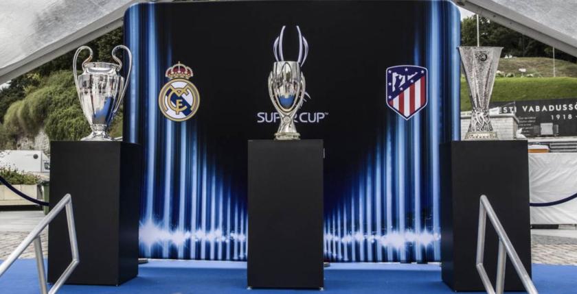 Real Madrid -monarca de la Champions League- y Atlético -rey de la Europa League- chocan por la UEFA Supercup.