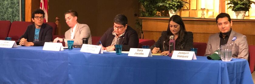 Five candidates running for California's 53rd Congressional District talked about environmental issues at a forum in La Mesa. The candidates were (left to right) Jose Caballero, Janessa Goldbeck, Georgette Gómez, Sara Jacobs and Joaquín Vázquez.