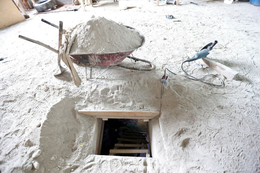 """A photo released by the attorney general of Mexico is said to show the end of a tunnel used by Joaquin """"El Chapo"""" Guzman to escape from the Altiplano prison near Mexico City."""