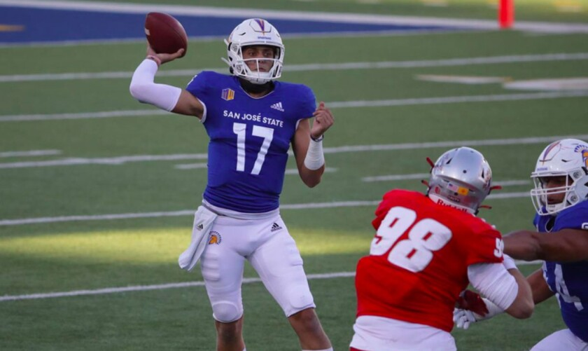 San Jose State quarterback Nick Starkel played at Texas A&M and Arkansas before joining the Spartans.