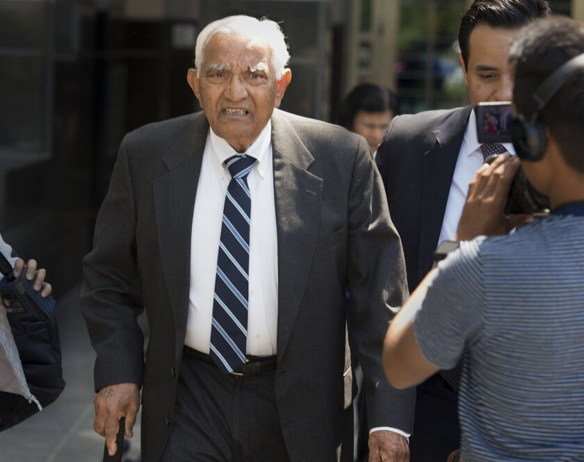 Babulal Bera, the father of Rep. Ami Bera, D-Elk Grove, leaves the federal courthouse on Tuesday, May 10, 2016, in Sacramento, Calif. He admitted to illegally arranging nearly $270,000 in campaign contributions to the 2010 and 2012 campaigns of his son Ami Bera.