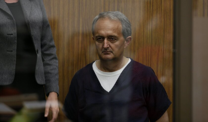 George Djura Jakubec, accused of making homemade explosives at his Escondido-area home, is shown here at a November arraignment in Vista Superior Court, where the case originated. At the time, the judge ordered Jakubec's photo not be published, but that prohibition has been lifted.
