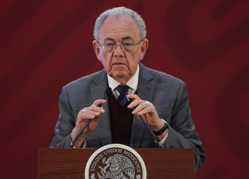 Communications and Transportation Secretary Javier Jimenez Espriu speaks during a press conference on Jan. 23, 2019, at the National Palace in Mexico City, Mexico. EPA-EFE FILE/Mario Guzman
