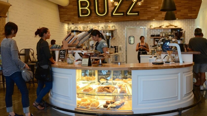Customers place their orders at Better Buzz Coffee & Juice Bar in Encinitas.