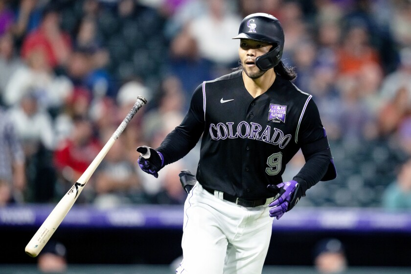 Poway High alumnus Connor Joe playing in the Sept. 2 Colorado Rockies/Atlanta Braves game at Coors Field.