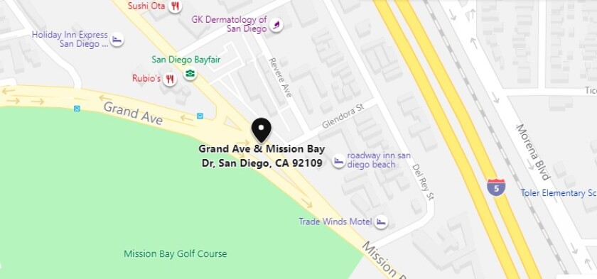 A pedestrian was seriously injured when hit by an SUV on Grand Avenue west of Mission Bay Drive in Pacific Beach.