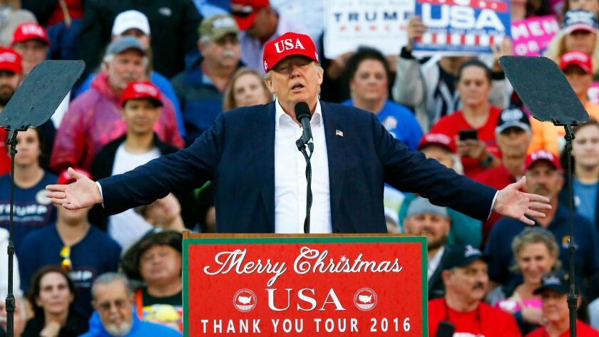 President-elect Donald Trump speaks during a rally in Mobile, Ala. on Dec. 17.
