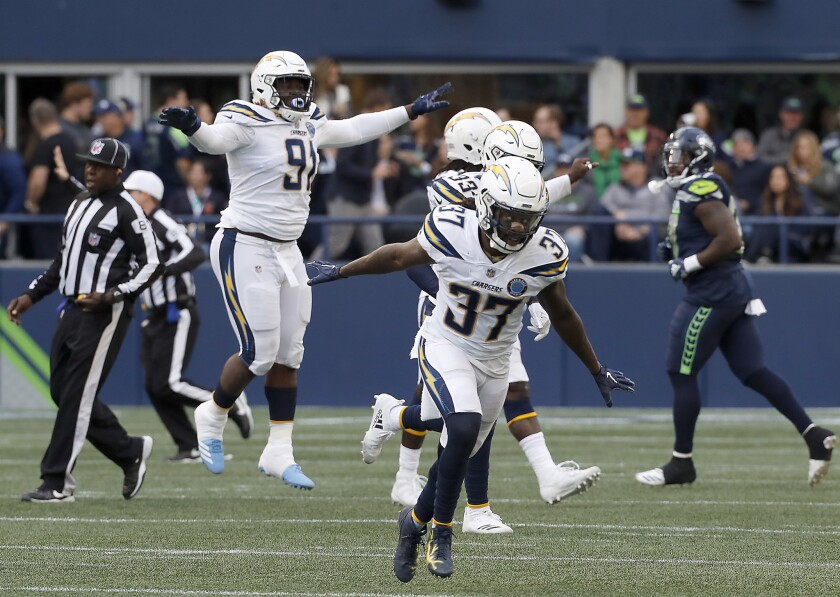Safety Jaleel Addae and the Chargers defense celebrate after stopping a Seattle Seahawks drive in the fourth quarter Sunday at Century Link Field in Seattle.