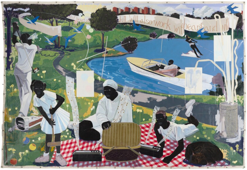 """""""Past Times,"""" by Kerry James Marshall, part of the artist's 35-year retrospective at the Museum of Contemporary Art in Los Angeles."""