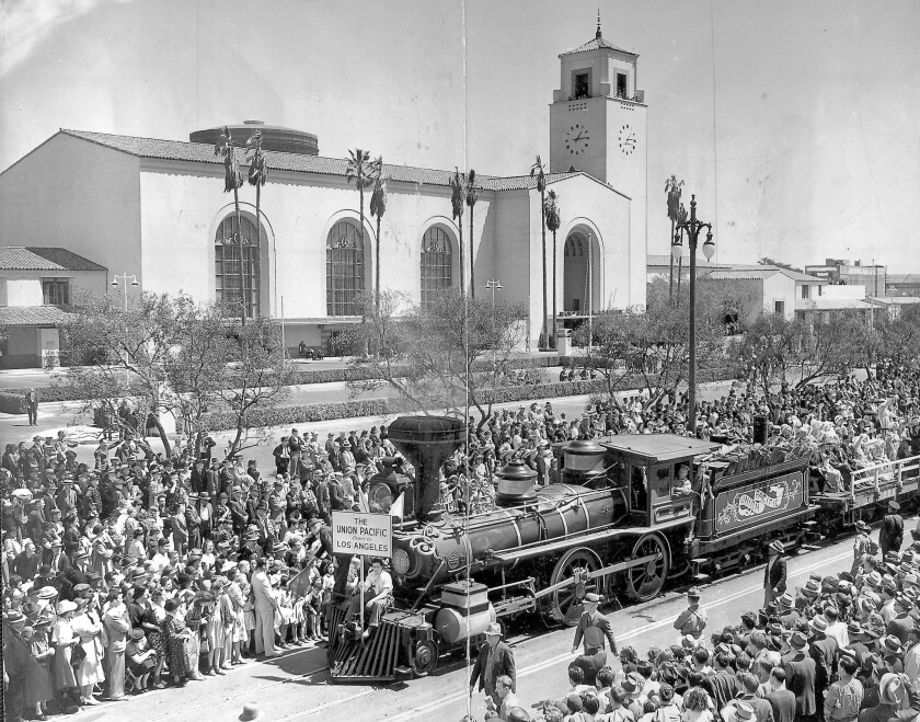 Crowds watch a train passing by during the celebration of the completion of L.A.'s Union Station in 1939. The station celebrated its 75th anniversary this weekend.