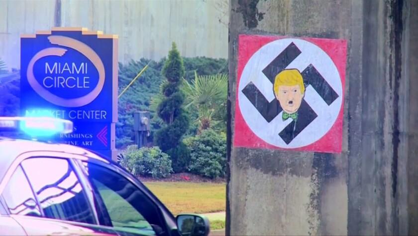 Imagen de Trump con una esvástica en Atlanta; los casos se empiezan a repetir en más lugares.