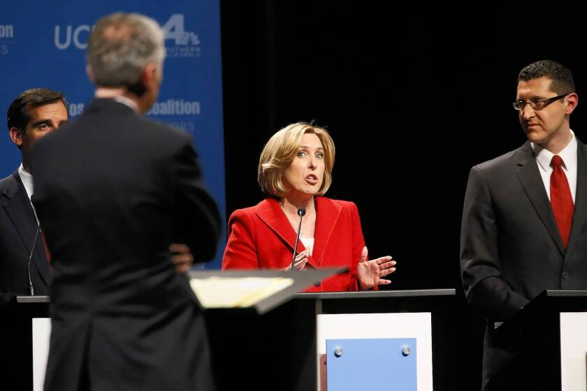 Los Angeles mayoral candidate and City Controller Wendy Greuel appears with other candidates at a mayoral debate in Westwood.
