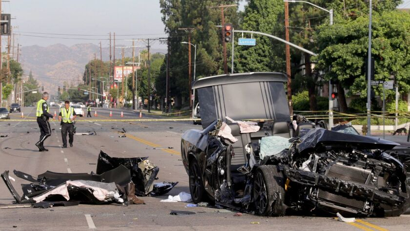 An investigation was underway in Winnetka on Thursday morning after one person was killed and three were injured in a three-vehicle collision on Roscoe Boulevard.